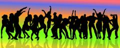 Vector silhouette of people who dance. - stock illustration