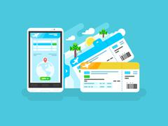 Tickets for the plane on a smartphone - stock illustration