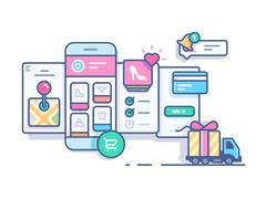 Online mobile shop - stock illustration