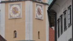 Window shutter moving in the wind in Ljubljana Stock Footage