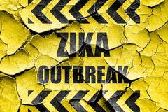 Grunge cracked Zika virus concept background - stock illustration