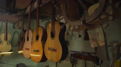 Man Lute Maker Artisan Cleaning Classical Guitar With Wipe Stock Footage