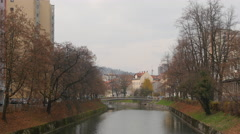 Stock Video Footage of Riverside view on a beautiful autumn day in Ljubljana