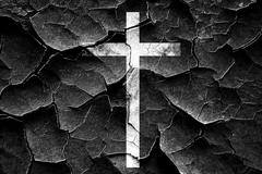 Grunge cracked Christian cross icon - stock illustration