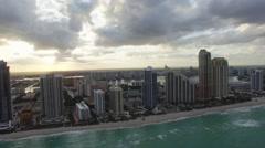 Aerial Sunny Isles Beach, sunset. Florida Arkistovideo
