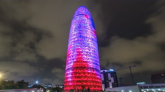 Night view of the Agbar tower timelapse hyperlapse. Since then it's a Barcelona Stock Footage
