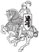 medieval knight on horse black and white - stock illustration