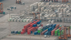 Loading containers on a sea cargo ship timelapse, view of the cargo port and Stock Footage