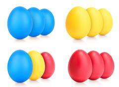 Concept of Easter multi color eggs on white Stock Illustration