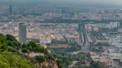 Barcelona cityscape early foggy morning timelapse Stock Footage