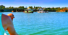 4K POV from Canoe on Water, Victoria Harbour Ferry, Summer Time Stock Footage
