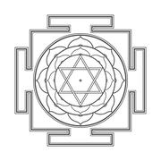 monocrome outline Bhuvaneshwari yantra illustration. - stock illustration