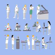 Vector set of people in medical laboratory. Doctors and scientist working, lab Stock Illustration
