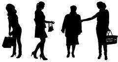 Vector silhouette of women. Stock Illustration