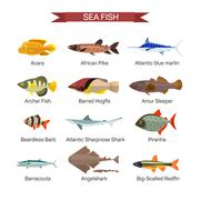 Fish vector set in flat style design. Ocean, sea and river fishes icons Stock Illustration