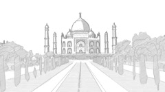 Taj Mahal Hand Drawn Sketch Animation Stock Footage