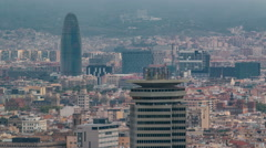 Barcelona cityscape with Agbar Tower standing out timelapse Stock Footage