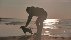 Girl with a doggy at a sunset sea - stock footage