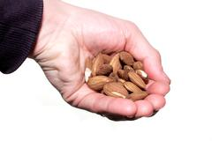 Handful of shelled almonds Stock Photos