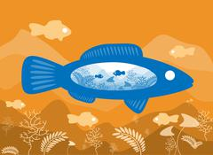 Fish on the background of the sea floor with an abstract representation of th - stock illustration
