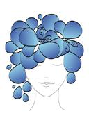 Beautiful abstract silhouette of a girl with butterflies and flowers on his h Stock Illustration
