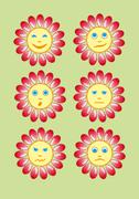 Stock Illustration of Beautiful and funny yellow smiley in a small set of sun. Vector