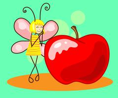 Beautiful butterfly to the apple. Vector Stock Illustration