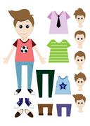 Big set of clothes for the boy Constructor. Hairstyle, dress, shoes, pants, T - stock illustration
