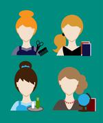 Profession people hairdresser, teacher, secretary. Face men uniform. Avatars  - stock illustration