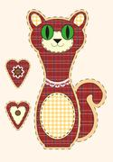 Cute cartoon cat in flat design for greeting card, invitation and logo with f Stock Illustration
