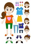 Big set of clothes for the girl Constructor. Hairstyle, dress, shoes, pants,  - stock illustration