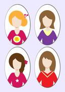 Cute illustrations of beautiful young girls with various hair style. Vector Stock Illustration