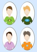 Cartoon illustration of a handsome young man with various hair style. Vector Stock Illustration