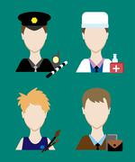 Profession people cop,  doctor, an artist, a businessman. Face men uniform. A - stock illustration
