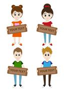 Set of cartoon boys and girls holding a sign for your text. Vector - stock illustration