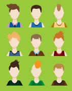 Set of Male avatar or pictogram for social networks. Modern flat colorful sty Stock Illustration