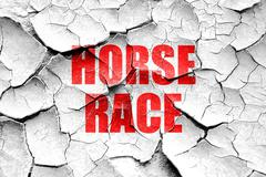 Stock Illustration of Grunge cracked horse race sign