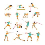 Vector set of people in sport poses. Track and field athletic contest concept - stock illustration