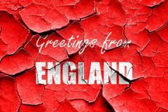 Grunge cracked Greetings from england Stock Illustration