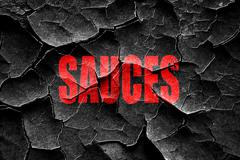 Stock Illustration of Grunge cracked Delicious sauces sign