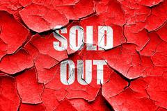 Grunge cracked sold out sign - stock illustration