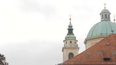 Steeple and dome of Ljubljana Cathedral in Ljubljana Stock Footage