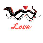 Graphic love Moray - stock illustration