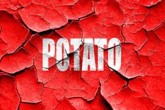 Grunge cracked Delicious potato sign - stock illustration
