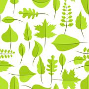 Spring green withered leaves seamless pattern - stock illustration