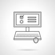 Online voting flat line vector icon - stock illustration