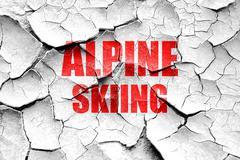 Grunge cracked alpine skiing sign background Stock Illustration