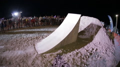 Slow Motion of Tailwhip Bmx Trick by Athlete on the Dirt Jumping Competition at Stock Footage