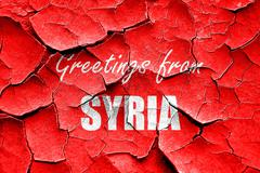 Grunge cracked Greetings from syria Piirros