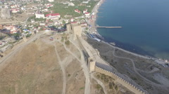 Overflight of the Genoese fortress wall in Sudak Stock Footage